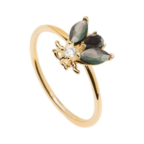 Anello Donna PDPAOLA AN01-255-12. Anello in argento sterling 925 con placcatura in oro 18k e soggetto a forma di mosca con base in madreperla nera e verde e cristalli bianchi. Disponibile in diverse misure.