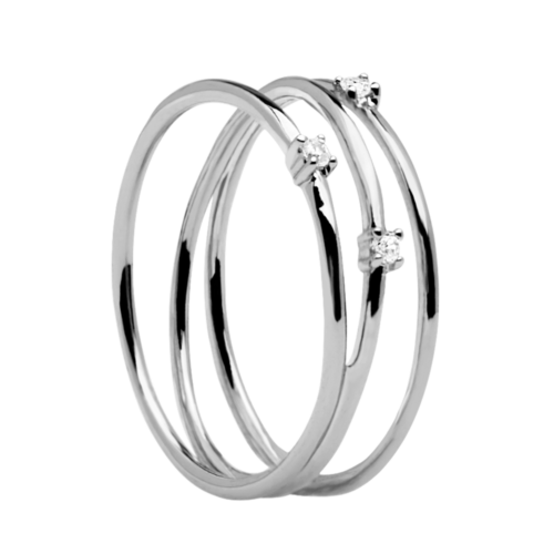 Anello Donna PDPAOLA AN02-120-12. Anello a tre fili in argento sterling 925 con zirconi. Misura 12.