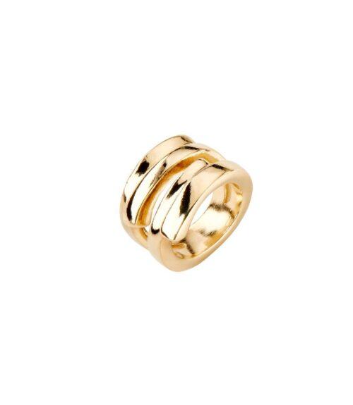 Anello Donna Uno de 50 ANI0639ORO00018 della collezione Maratua Island. Anello in metallo bagnato nell'argento con placcatura oro. Gioiello 100% realizzato a mano da UNOde50, Spagna.