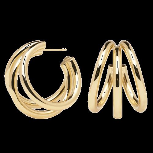 Orecchini Donna PDPAOLA AR01-066-U. Orecchini in argento 925 con placcatura in oro 18k. Diametro del cerchio: 3 cm. Sistema di chiusura: Vite tradizionale.