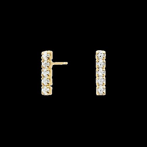 Orecchini Donna PDPAOLA AR01-072-U. Orecchini in argento 925 con placcatura in oro 18k e zirconi. Lunghezza: 1,2 cm. Sistema di chiusura: Vite tradizionale.