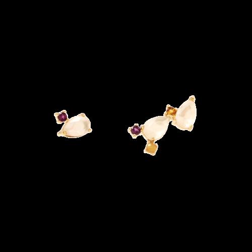 Orecchini Donna PDPAOLA AR01-096-U. Orecchini in argento sterling 925 con placcatura in oro 18k e base in madreperla con cristalli colorati. Sistema di chiusura: vite tradizionale.