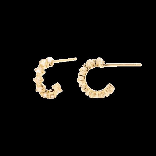 Orecchini Donna PDPAOLA AR01-099-U. Orecchini in argento sterling 925 con placcatura in oro 18k e zirconi color madreperla. Diametro del cerchio: 7 mm. Sistema di chiusura: vite tradizionale.