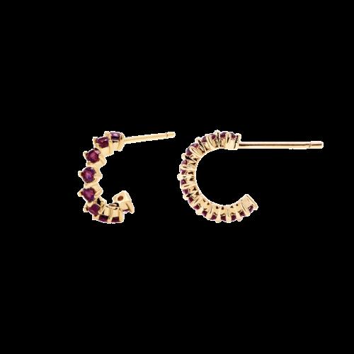 Orecchini Donna PDPAOLA AR01-100-U. Orecchini in argento sterling 925 con placcatura in oro 18k e zirconi viola. Diametro del cerchio: 7 mm. Sistema di chiusura: vite tradizionale.
