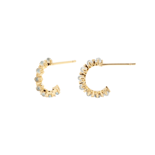 Orecchini Donna PDPAOLA AR01-109-U. Orecchini in argento sterling 925 con placcatura in oro 18k e zirconi celesti. Diametro del cerchio: 7 mm. Sistema di chiusura: vite tradizionale.