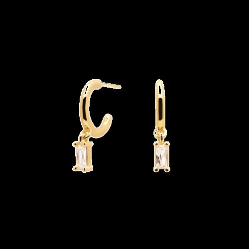 Orecchini Donna PDPAOLA AR01-115-U. Orecchini in argento sterling 925 con placcatura in oro 18k e ciondolo con zircone rettangolare bianco. Diametro del cerchio: 10 mm. Sistema di chiusura: vite tradizionale.