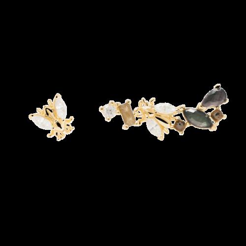 Orecchini Donna PDPAOLA AR01-321-U. Orecchini in argento sterling 925 con placcatura in oro 18k e pietre: Labradorite, Acquamarina e zirconi colorati. Sistema di chiusura: vite tradizionale.