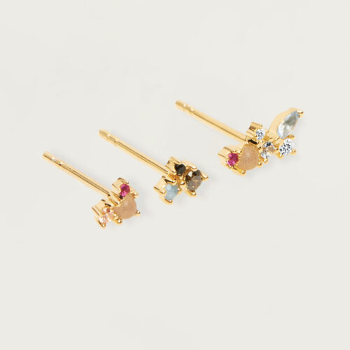 Orecchini Donna PDPAOLA AR01-209-U. Set di tre orecchini in argento sterling 925 con placcatura in oro 18k e pietre: Labradorite, Acquamarina e zirconi colorati. Sistema di chiusura: vite tradizionale.