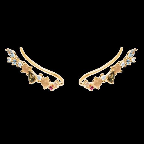 Orecchini Donna PDPAOLA AR01-216-U. Orecchini in argento sterling 925 con placcatura in oro 18k e pietre: Labradorite, Acquamarina e zirconi colorati. Sistema di chiusura: vite tradizionale.