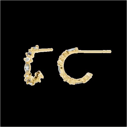 Orecchini Donna PDPAOLA AR01-219-U. Orecchini in argento sterling 925 con placcatura in oro 18k e pietre: Labradorite, Acquamarina e zirconi colorati. Diametro del cerchio: 12 mm. Sistema di chiusura: vite tradizionale.
