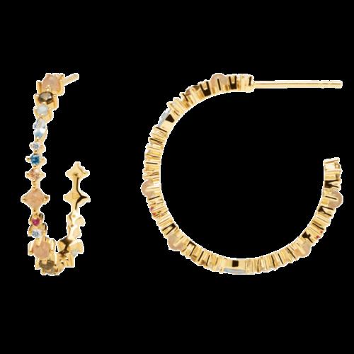 Orecchini Donna PDPAOLA AR01-221-U. Orecchini in argento sterling 925 con placcatura in oro 18k e pietre: Labradorite, Acquamarina e zirconi colorati. Diametro del cerchio: 26 mm. Sistema di chiusura: vite tradizionale.