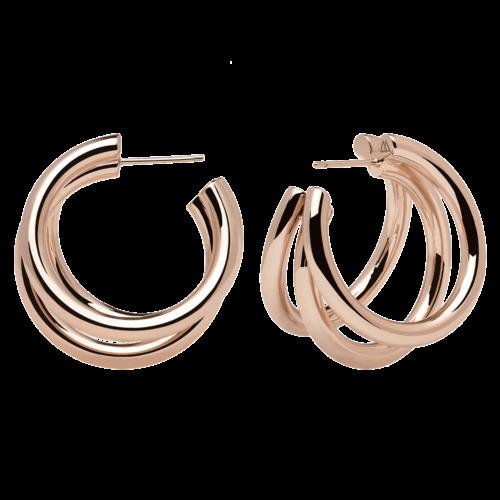 Orecchini Donna PDPAOLA AR03-066-U. Orecchini in acciaio con placcatura in oro rosa 18k. Diametro del cerchio: 3 cm. Sistema di chiusura: a vite.
