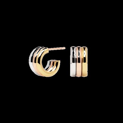 Orecchini Donna PDPAOLA AR04-064-U. Orecchini in acciaio con placcatura in oro rosa 18k, placcatura in oro 18k e placcatura in argento rodiato. Diametro del cerchio: 1,3 cm. Sistema di chiusura: a vite.