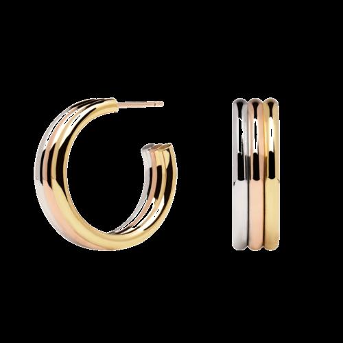 Orecchini Donna PDPAOLA AR04-065-U. Orecchini in acciaio con placcatura in oro rosa 18k, placcatura in oro 18k e placcatura in argento rodiato. Diametro del cerchio: 2,5 cm. Sistema di chiusura: a vite.