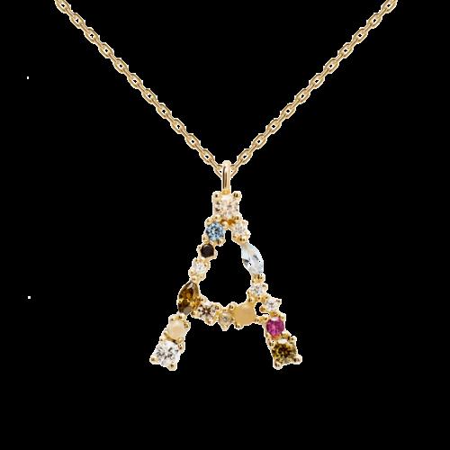 Collana Donna PDPAOLA CO01-096-U. Collana in argento sterling 925 con lettera A placcata in oro 18 kt e impreziosita da pietre: labradorite, acquamarina e zirconi colorati. Lunghezza catena: regolabile da 35 cm a 50 cm.