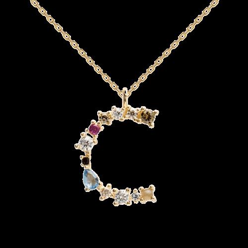 Collana Donna PDPAOLA CO01-098-U. Collana in argento sterling 925 con lettera C placcata in oro 18 kt e impreziosita da pietre: labradorite, acquamarina e zirconi colorati. Lunghezza catena: regolabile da 35 cm a 50 cm.
