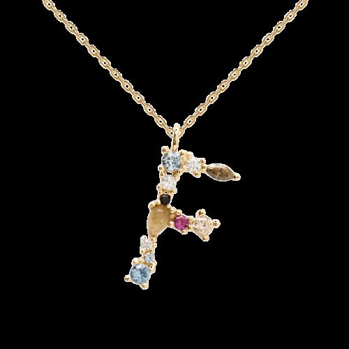 Collana Donna PDPAOLA CO01-101-U. Collana in argento sterling 925 con lettera F placcata in oro 18 kt e impreziosita da pietre: labradorite, acquamarina e zirconi colorati. Lunghezza catena: regolabile da 35 cm a 50 cm.