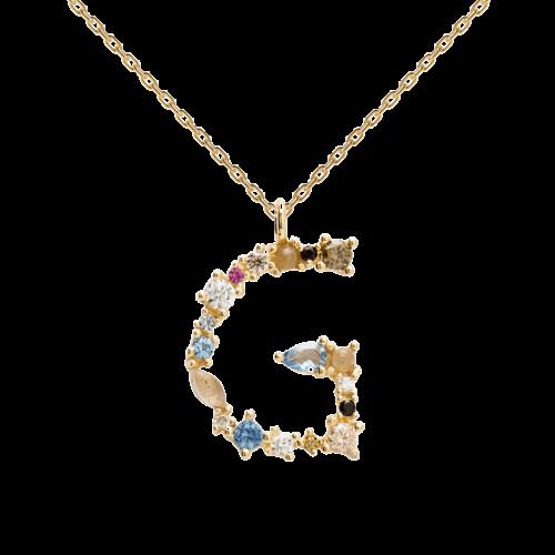 Collana Donna PDPAOLA CO01-102-U. Collana in argento sterling 925 con lettera G placcata in oro 18 kt e impreziosita da pietre: labradorite, acquamarina e zirconi colorati. Lunghezza catena: regolabile da 35 cm a 50 cm.
