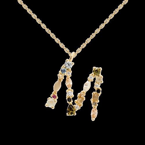 Collana Donna PDPAOLA CO01-108-U. Collana in argento sterling 925 con lettera M placcata in oro 18 kt e impreziosita da pietre: labradorite, acquamarina e zirconi colorati. Lunghezza catena: regolabile da 35 cm a 50 cm.