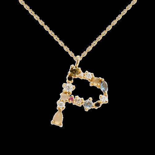 Collana Donna PDPAOLA CO01-111-U. Collana in argento sterling 925 con lettera P placcata in oro 18 kt e impreziosita da pietre: labradorite, acquamarina e zirconi colorati. Lunghezza catena: regolabile da 35 cm a 50 cm.