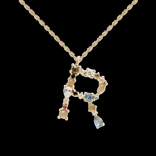 Collana Donna PDPAOLA CO01-113-U. Collana in argento sterling 925 con lettera R placcata in oro 18 kt e impreziosita da pietre: labradorite, acquamarina e zirconi colorati. Lunghezza catena: regolabile da 35 cm a 50 cm.