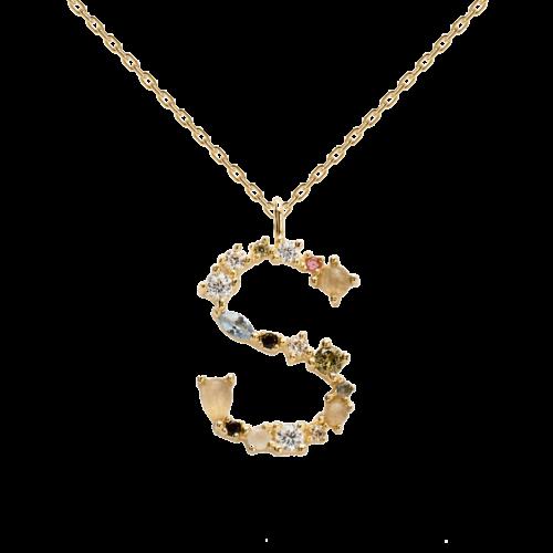 Collana Donna PDPAOLA CO01-114-U. Collana in argento sterling 925 con lettera S placcata in oro 18 kt e impreziosita da pietre: labradorite, acquamarina e zirconi colorati. Lunghezza catena: regolabile da 35 cm a 50 cm.