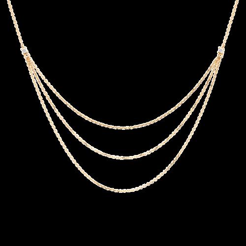 Collana Donna PDPAOLA CO01-140-U. Collana in argento sterling 925 con placcatura in oro 18k e zirconi bianchi. Lunghezza regolabile da 40 cm a 50 cm.