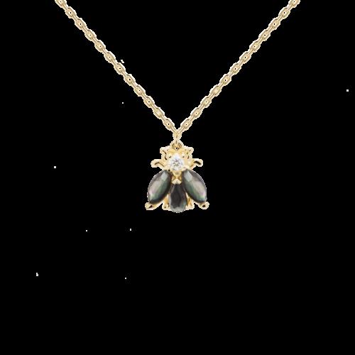 Collana Donna PDPAOLA CO01-198-U. Collana in argento sterling 925 con placcatura in oro 18k, madreperla nera, verde e cristalli bianchi. Lunghezza regolabile da 40 a 50 cm.