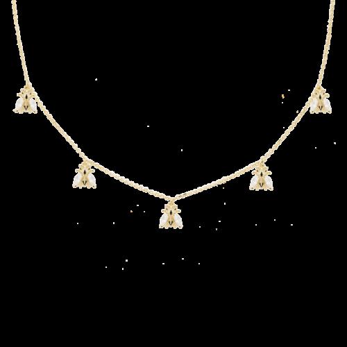 Collana Donna PDPAOLA CO01-200-U. Collana in argento sterling 925 con placcatura in oro 18k e ciondoli con cristalli bianchi. Lunghezza regolabile da 40 a 50 cm.