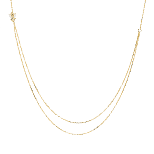 Collana Donna PDPAOLA CO01-202-U. Collana in argento sterling 925 con placcatura in oro 18k ed elemento con cristalli bianchi. Lunghezza regolabile da 40 a 50 cm.