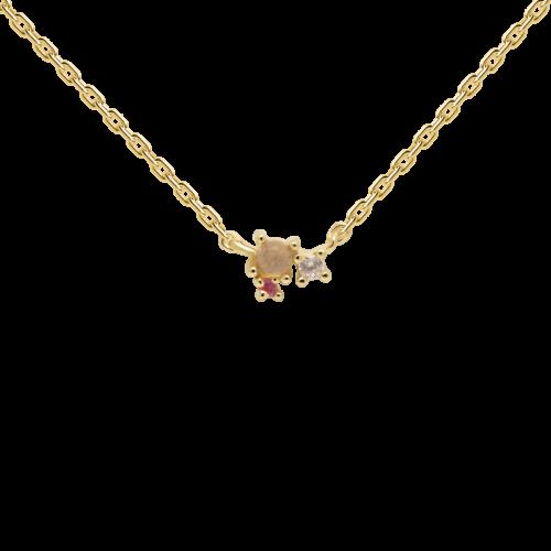 Collana Donna PDPAOLA CO01-175-U. Collana in argento sterling 925 con placcatura in oro 18k, pietra di laborite e zirconi colorati. Lunghezza regolabile da 40 a 55 cm.