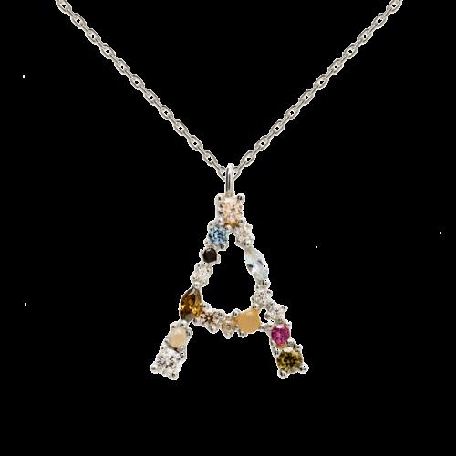 Collana Donna PDPAOLA CO02-096-U. Collana in argento sterling 925 con lettera A impreziosita da pietre: labradorite, acquamarina e zirconi colorati. Lunghezza catena: regolabile da 35 cm a 50 cm.