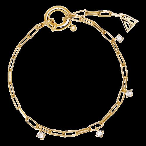 Bracciale Donna PDPAOLA PU01-043-U. Bracciale in argento sterling 925 con placcatura in oro 18k e zirconi bianchi pendenti. Lunghezza catenina: regolabile.
