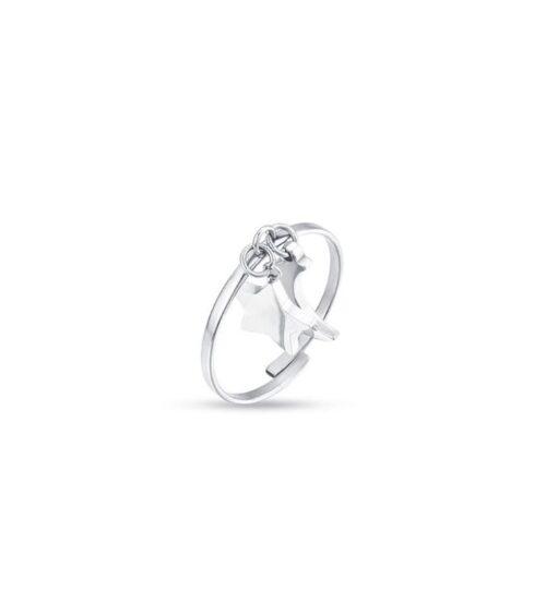 Anello Donna Luca Barra ANK271. Anello in acciaio con ciondoli a forma di stella e luna. Misura regolabile.