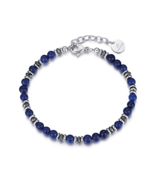 Bracciale Uomo Luca Barra BA1181. Bracciale in acciaio con sfere blu ed ematite. Lunghezza: 21,5 cm; regolabile grazie alla chiusura a moschettone.