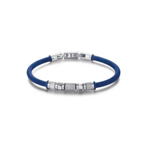 Bracciale Uomo Luca Barra BA1194. Bracciale in silicone blu con elementi centrali in acciaio. Lunghezza: 20,5 cm