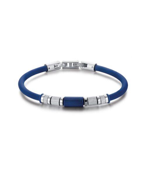 Bracciale Uomo Luca Barra BA1195. Bracciale in silicone blu con elementi in acciaio e blu. Lunghezza: 20,5 cm.