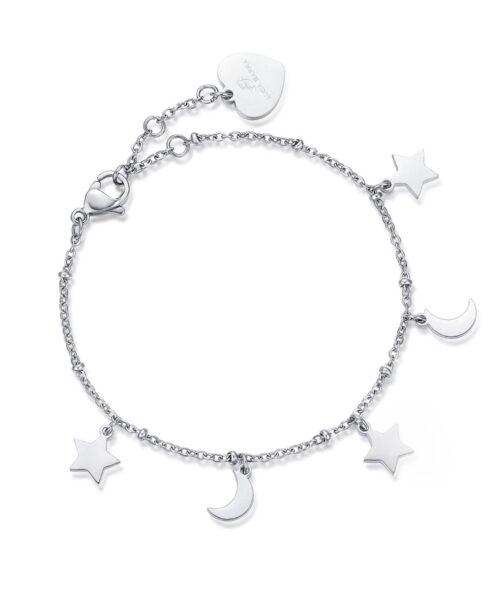 Bracciale Donna Luca Barra BK1908. Bracciale in acciaio con ciondoli a forma di stella e luna. Lunghezza: 20 cm; regolabile grazie alla chiusura a moschettone.