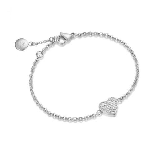 Bracciale Donna Luca Barra BK1495. Bracciale in acciaio con elemento a forma di cuore con zirconi. Lunghezza: 18,5 cm.