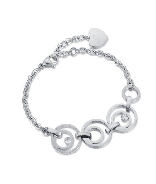 Bracciale Donna Luca Barra BK1884. Bracciale in acciaio con elementi a forma di cerchio e zirconi. Lunghezza: 20 cm; regolabile grazie alla chiusura a moschettone.