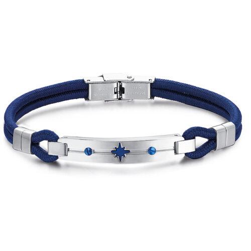 Bracciale Uomo Luca Barra BA1210. Bracciale in corda blu con piastra e chiusura in acciaio e rosa dei venti con trattamento ip blu. Lunghezza: 21 cm.
