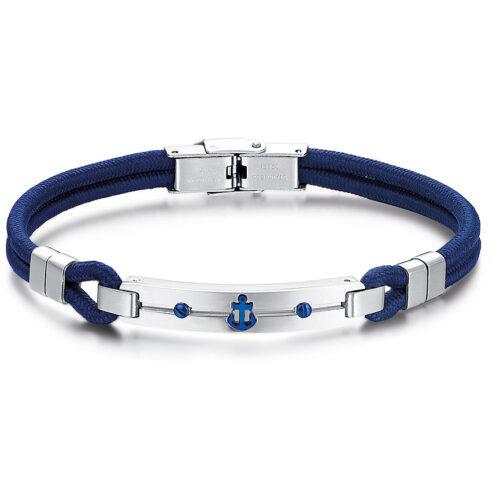 Bracciale Uomo Luca Barra BA1211. Bracciale in corda blu con piastra e chiusura in acciaio e ancora con trattamento ip blu. Lunghezza: 21 cm.