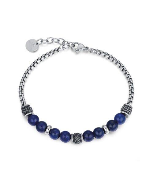 Bracciale Uomo Luca Barra BA1175. Bracciale in acciaio con sfere blu ed elementi in acciaio nero anticato. Lunghezza: 22 cm; regolabile grazie alla chiusura a moschettone.