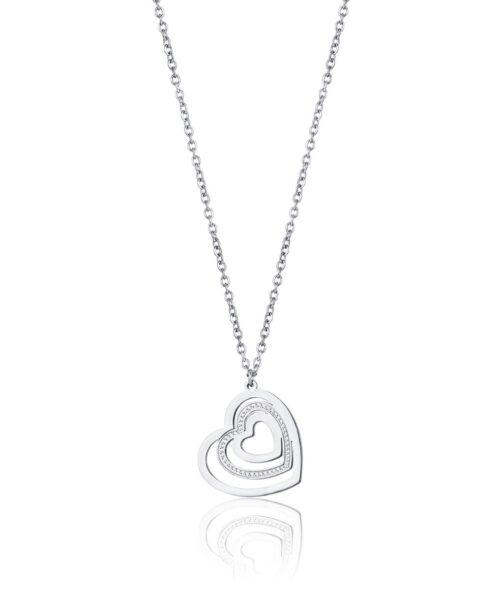 Collana Donna Luca Barra CK1468. Collana in acciaio con ciondolo a forma di cuore con zirconi. Lunghezza: 40 cm + 5 cm.
