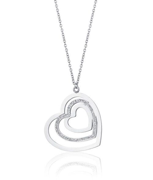 Collana Donna Luca Barra CK1469. Collana in acciaio con ciondolo a forma di cuore con zirconi. Lunghezza: 75 cm + 5 cm.