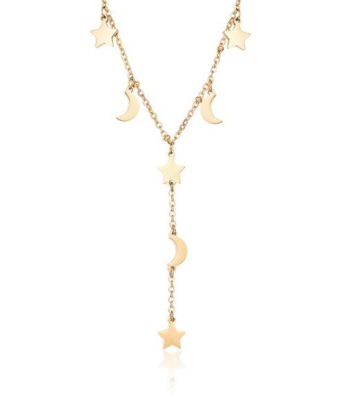 Collana Donna Luca Barra CK1471. Collana in acciaio ip gold con ciondoli a forma di stella e luna. Lunghezza: 40 cm + 5 cm.