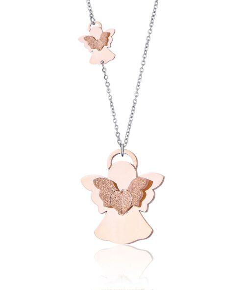 Collana Donna Luca Barra CK1474. Collana in acciaio con angeli placcati oro rosa con ali glitterate. Lunghezza: 75 cm + 5 cm.