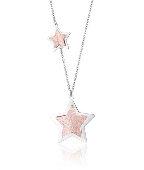 Collana Donna Luca Barra CK1476. Collana in acciaio con stelle placcate oro rosa e glitter. Lunghezza: 75 cm + 5 cm.
