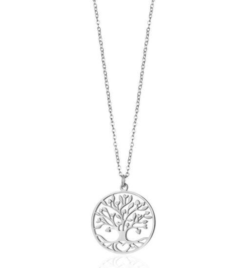 Collana Donna Luca Barra CK1355. Collana in acciaio con albero della vita. Diametro ciondolo: 2,5 cm. Lunghezza: 45 cm + 5 cm.