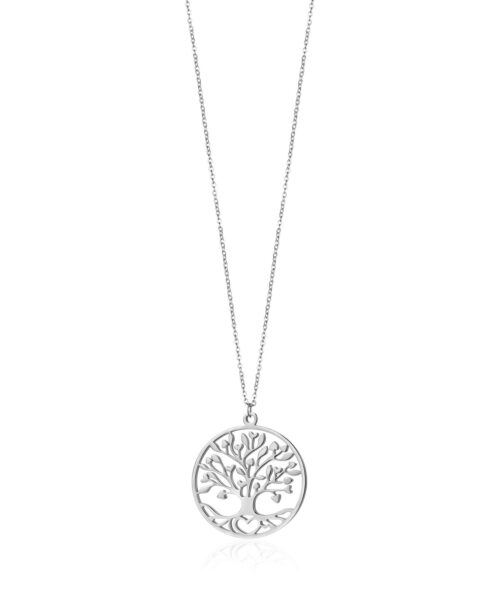 Collana Donna Luca Barra CK1356. Collana in acciaio con albero della vita. Diametro ciondolo: 3,8 cm. Lunghezza: 75 cm + 5 cm.